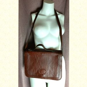 Vintage leather crossbody briefcase retro